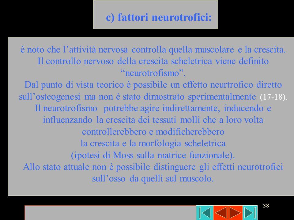 38 c) fattori neurotrofici: è noto che lattività nervosa controlla quella muscolare e la crescita. Il controllo nervoso della crescita scheletrica vie