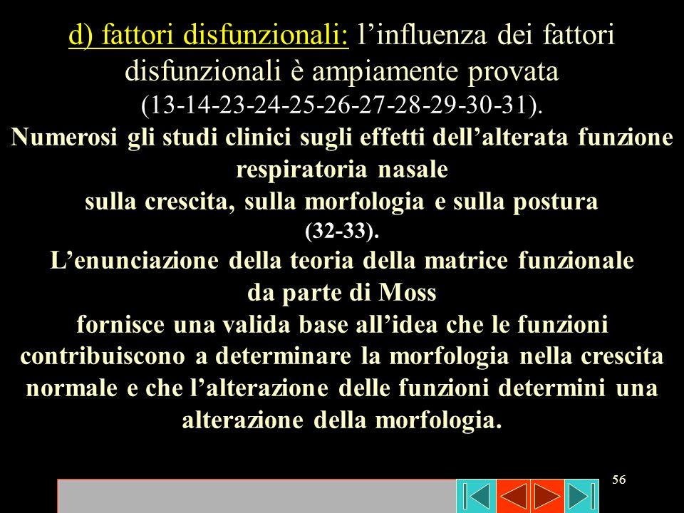 56 d) fattori disfunzionali: linfluenza dei fattori disfunzionali è ampiamente provata (13-14-23-24-25-26-27-28-29-30-31). Numerosi gli studi clinici