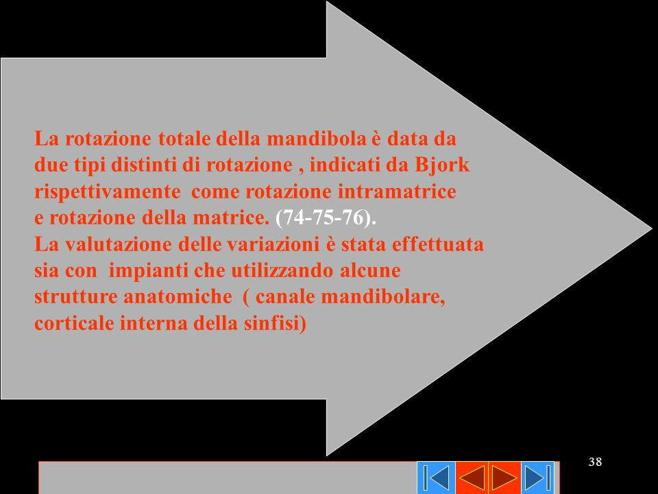 38 La rotazione totale della mandibola è data da due tipi distinti di rotazione, indicati da Bjork rispettivamente come rotazione intramatrice e rotaz