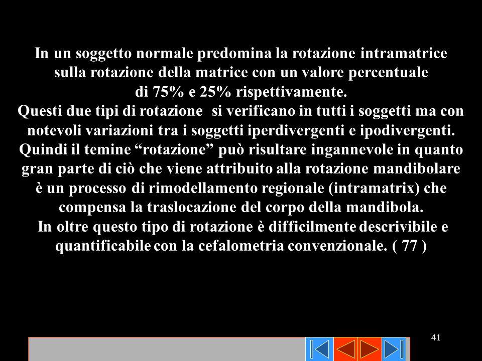 41 In un soggetto normale predomina la rotazione intramatrice sulla rotazione della matrice con un valore percentuale di 75% e 25% rispettivamente. Qu