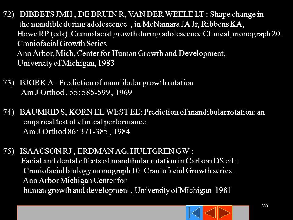 76 72) DIBBETS JMH, DE BRUIN R, VAN DER WEELE LT : Shape change in the mandible during adolescence, in McNamara JA Jr, Ribbens KA, Howe RP (eds): Cran
