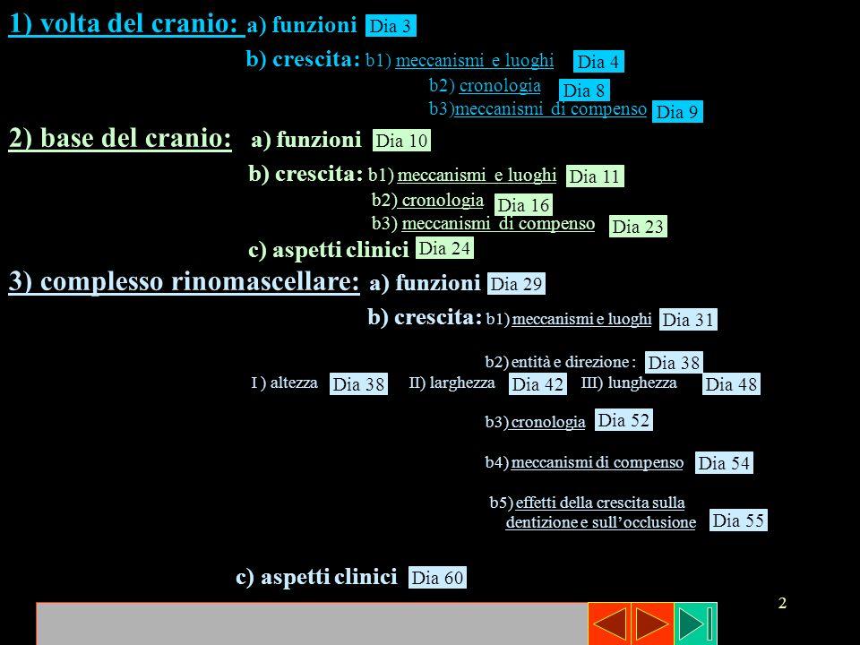 3 1) VOLTA DEL CRANIO : a) funzioni la principale funzione della volta cranica è la protezione dellencefalo, la cui crescita determina laccrescimento della stessa.