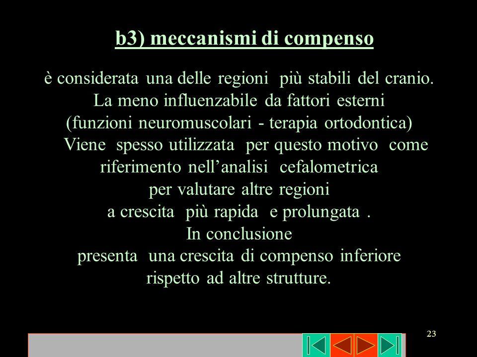 23 b3) meccanismi di compenso è considerata una delle regioni più stabili del cranio. La meno influenzabile da fattori esterni (funzioni neuromuscolar