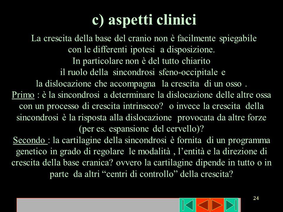 24 c) aspetti clinici La crescita della base del cranio non è facilmente spiegabile con le differenti ipotesi a disposizione. In particolare non è del