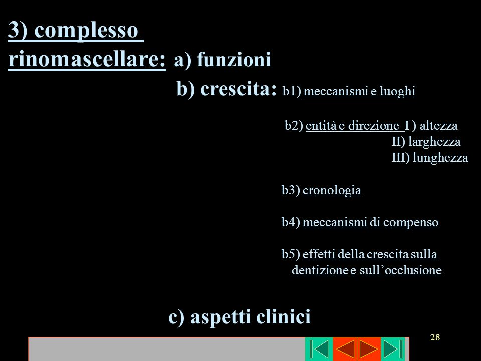 28 3) complesso rinomascellare: a) funzioni b) crescita: b1) meccanismi e luoghi b2) entità e direzione I ) altezza II) larghezza III) lunghezza b3) c