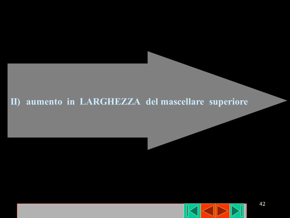 42 II) aumento in LARGHEZZA del mascellare superiore