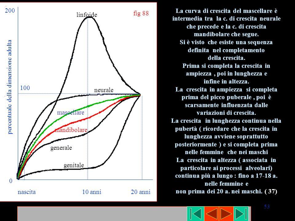 53 nascita 10 anni 20 anni linfoide neurale mascellare mandibolare generale genitale percentuale della dimensione adulta 200 0 100 fig 88 La curva di