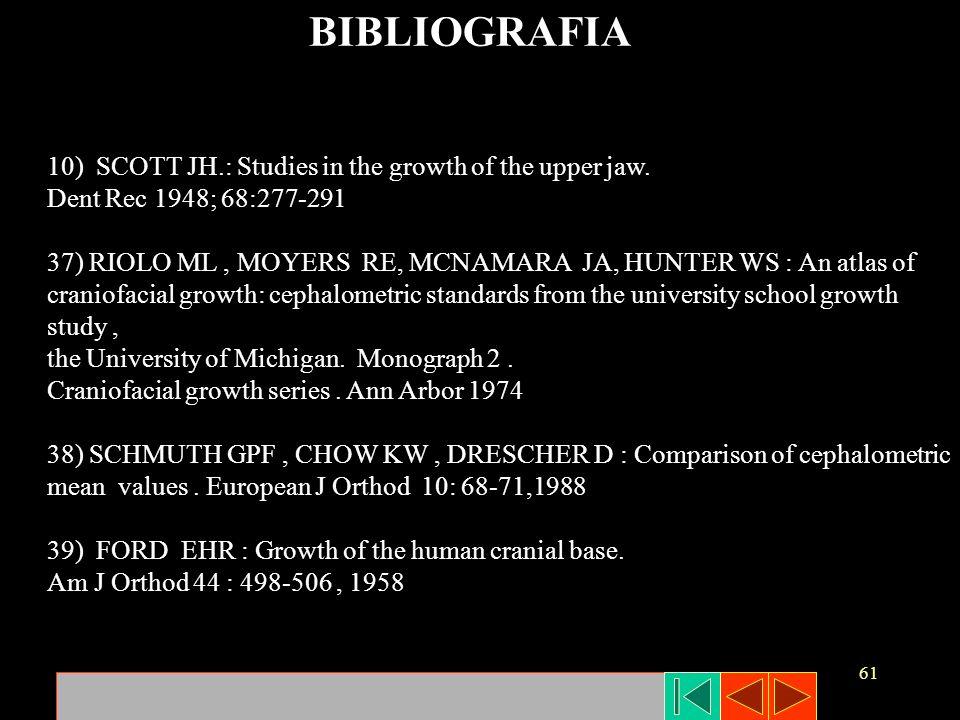 61 BIBLIOGRAFIA 10) SCOTT JH.: Studies in the growth of the upper jaw. Dent Rec 1948; 68:277-291 37) RIOLO ML, MOYERS RE, MCNAMARA JA, HUNTER WS : An