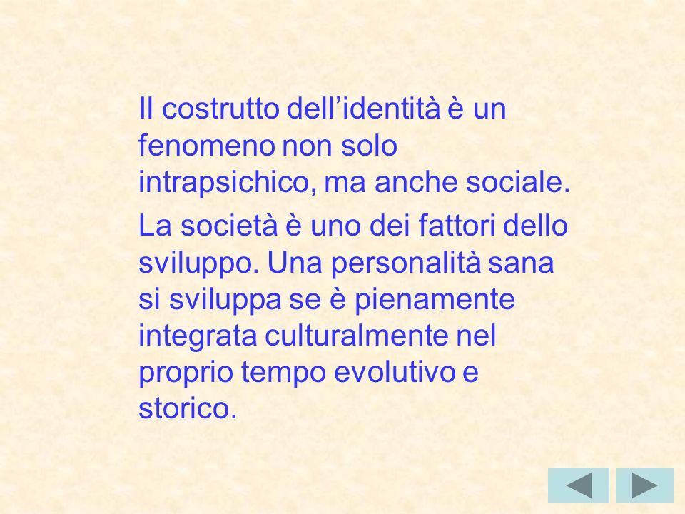 Il costrutto dellidentità è un fenomeno non solo intrapsichico, ma anche sociale.