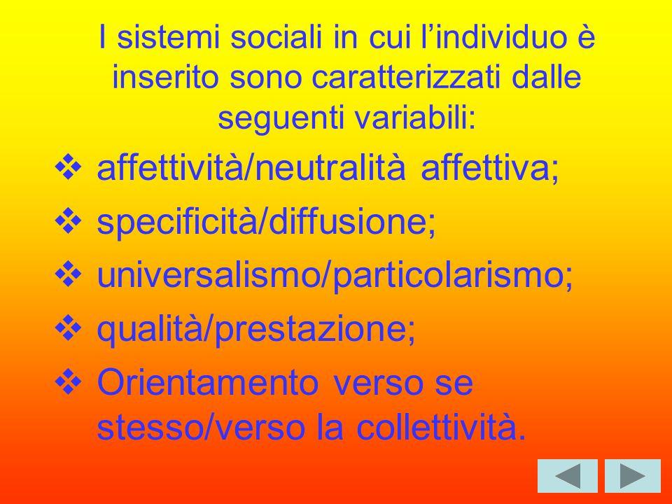 I sistemi sociali in cui lindividuo è inserito sono caratterizzati dalle seguenti variabili: affettività/neutralità affettiva; specificità/diffusione; universalismo/particolarismo; qualità/prestazione; Orientamento verso se stesso/verso la collettività.