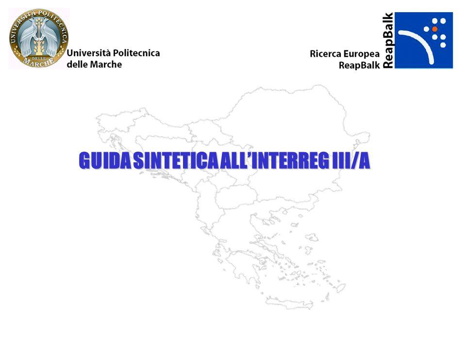 Programma INTERREG III A Transfrontaliero Adriatico Regioni interessate: Regioni RAI (Regioni Adriatiche Italiane: Friuli, Veneto, Emilia Romagna, Marche, Abruzzo, Molise, Puglia) Regioni PAO (Paesi Adriatico Orientale: Slovenia, Croazia, Bosnia-Erzegovina, Serbia-Montenegro, Albania) ITALIA – PAESI ADRIATICI ORIENTALI