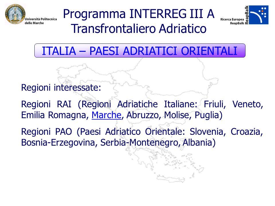 Programma INTERREG III A Transfrontaliero Adriatico Regioni interessate: Regioni RAI (Regioni Adriatiche Italiane: Friuli, Veneto, Emilia Romagna, Mar