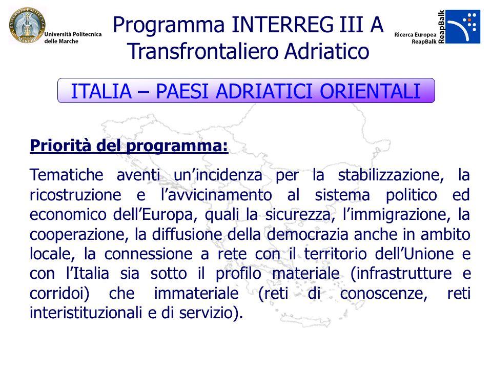 Priorità del programma: Tematiche aventi unincidenza per la stabilizzazione, la ricostruzione e lavvicinamento al sistema politico ed economico dellEu