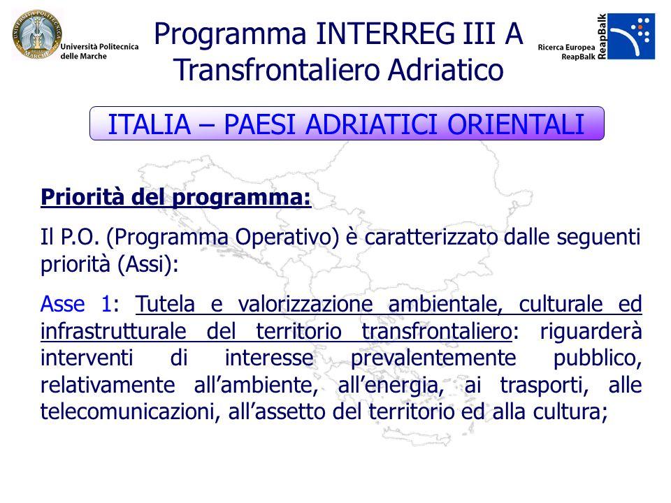 Priorità del programma: Il P.O. (Programma Operativo) è caratterizzato dalle seguenti priorità (Assi): Asse 1: Tutela e valorizzazione ambientale, cul