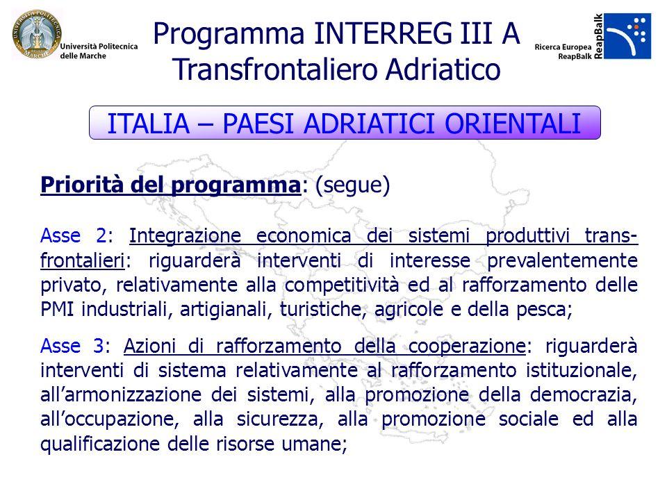 Priorità del programma: (segue) Asse 2: Integrazione economica dei sistemi produttivi trans- frontalieri: riguarderà interventi di interesse prevalent