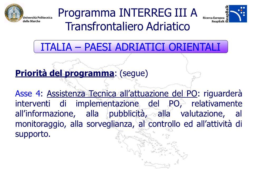 Priorità del programma: (segue) Asse 4: Assistenza Tecnica allattuazione del PO: riguarderà interventi di implementazione del PO, relativamente allinf