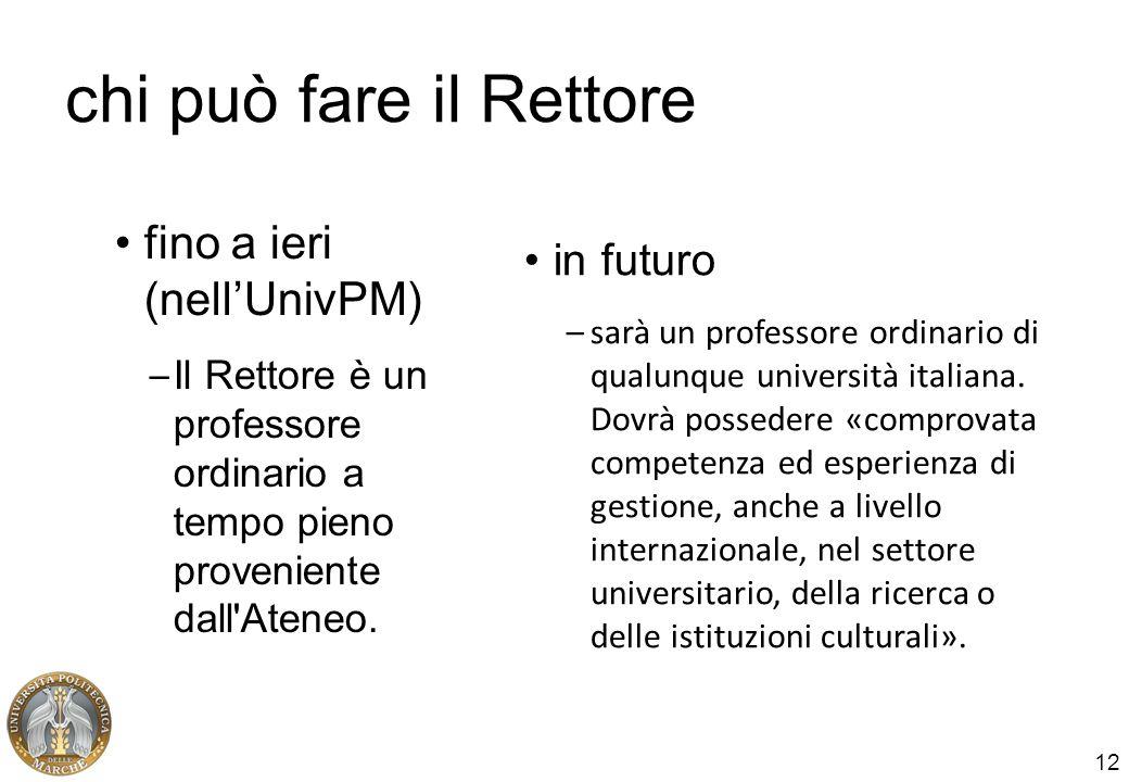 12 chi può fare il Rettore fino a ieri (nellUnivPM) – Il Rettore è un professore ordinario a tempo pieno proveniente dall'Ateneo. in futuro –sarà un p