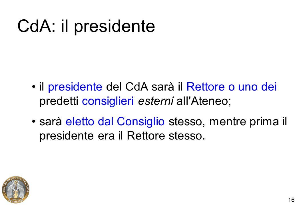 16 CdA: il presidente il presidente del CdA sarà il Rettore o uno dei predetti consiglieri esterni all'Ateneo; sarà eletto dal Consiglio stesso, mentr