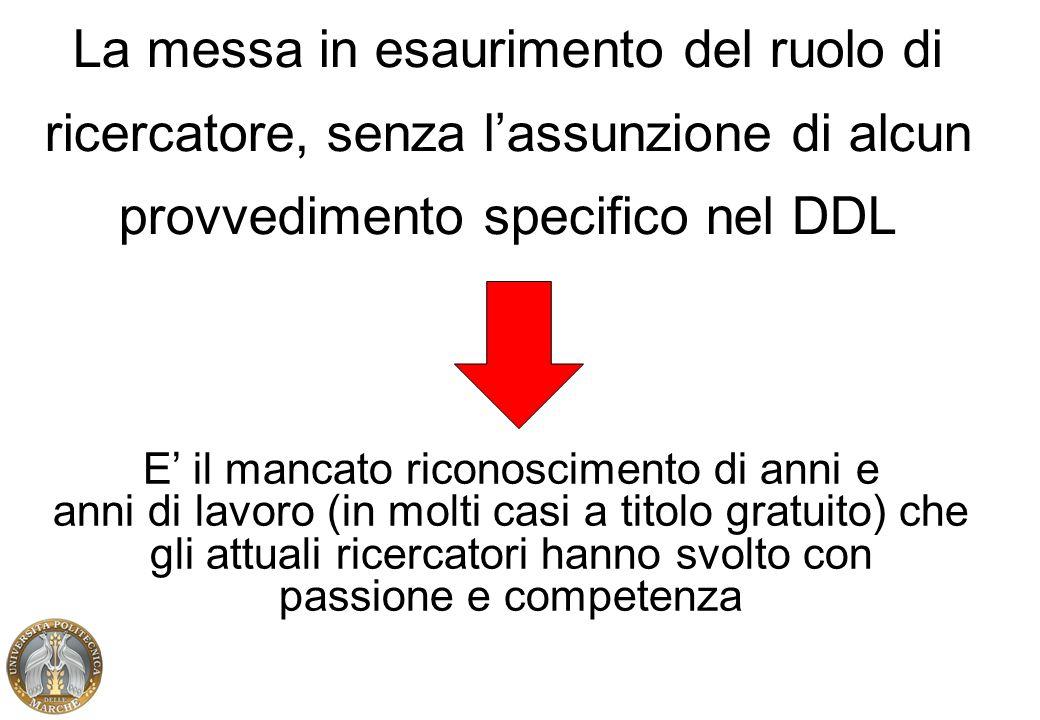 La messa in esaurimento del ruolo di ricercatore, senza lassunzione di alcun provvedimento specifico nel DDL E il mancato riconoscimento di anni e ann