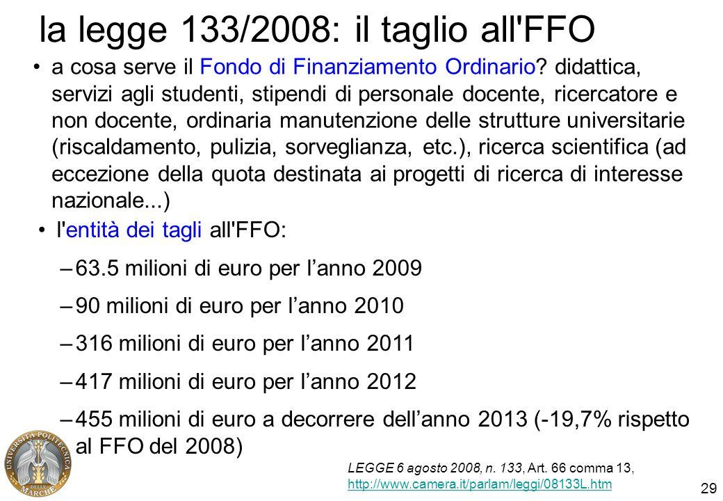 29 la legge 133/2008: il taglio all'FFO a cosa serve il Fondo di Finanziamento Ordinario? didattica, servizi agli studenti, stipendi di personale doce
