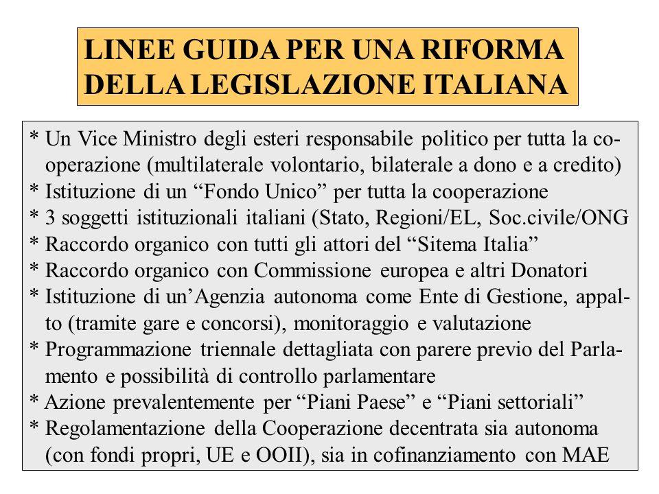 LINEE GUIDA PER UNA RIFORMA DELLA LEGISLAZIONE ITALIANA * Un Vice Ministro degli esteri responsabile politico per tutta la co- operazione (multilatera