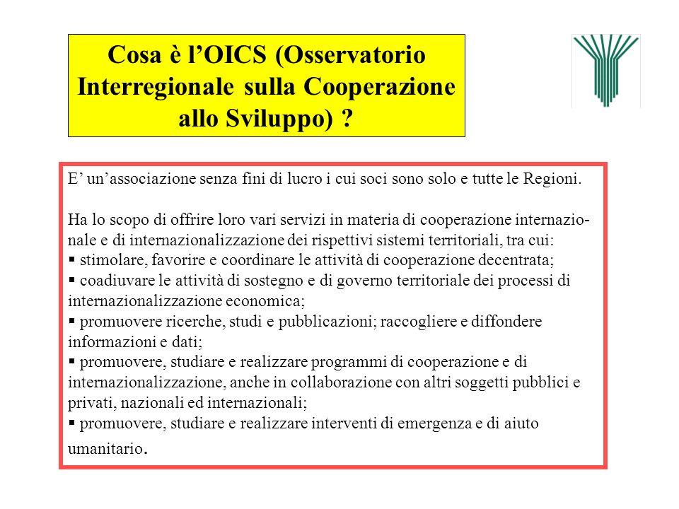 Cosa è lOICS (Osservatorio Interregionale sulla Cooperazione allo Sviluppo) ? E unassociazione senza fini di lucro i cui soci sono solo e tutte le Reg
