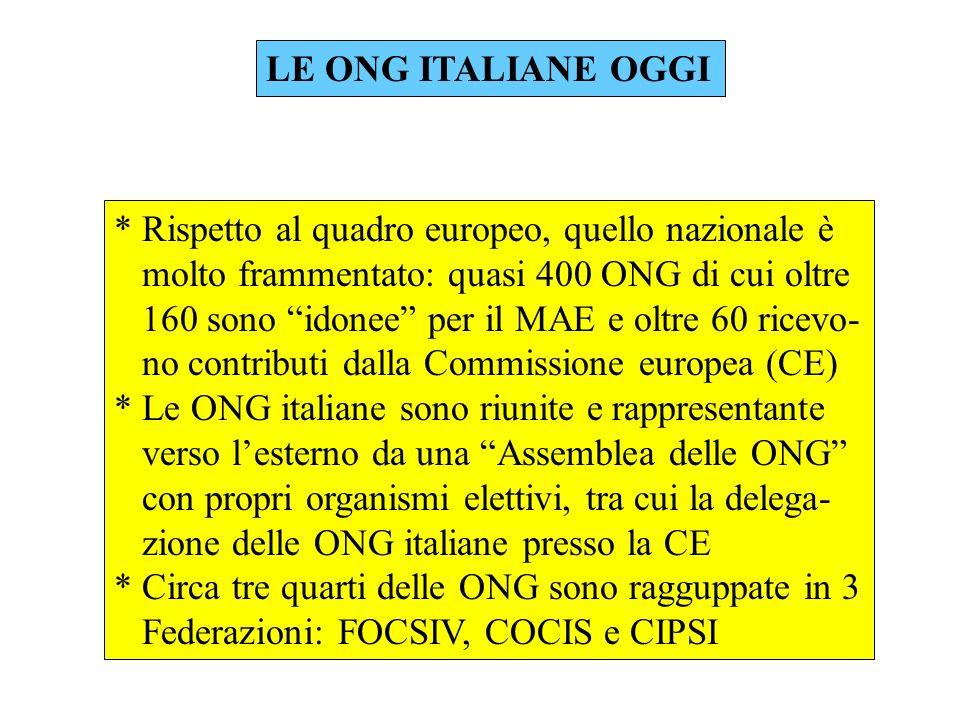 LE ONG ITALIANE OGGI * Rispetto al quadro europeo, quello nazionale è molto frammentato: quasi 400 ONG di cui oltre 160 sono idonee per il MAE e oltre