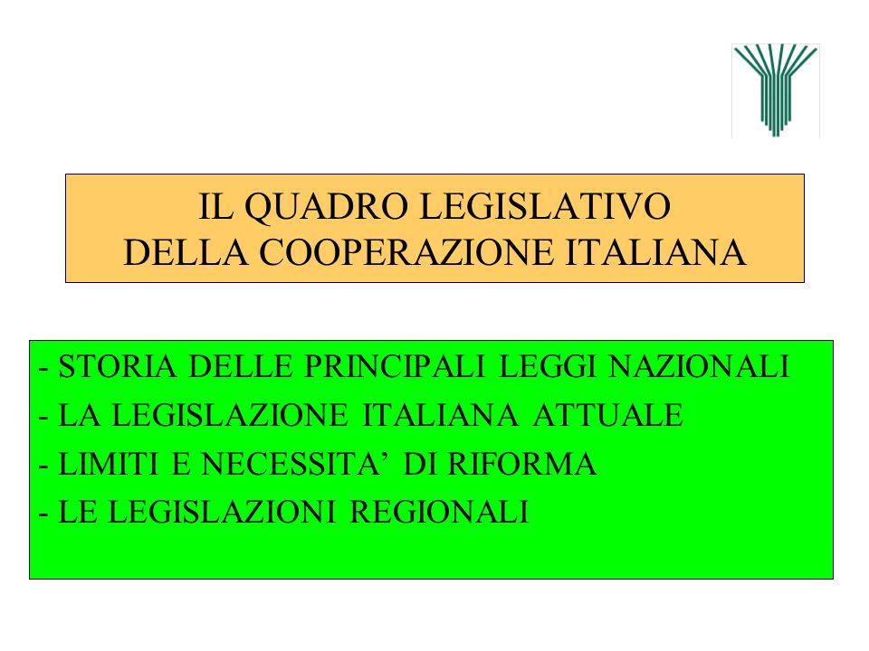 IL QUADRO LEGISLATIVO DELLA COOPERAZIONE ITALIANA - STORIA DELLE PRINCIPALI LEGGI NAZIONALI - LA LEGISLAZIONE ITALIANA ATTUALE - LIMITI E NECESSITA DI