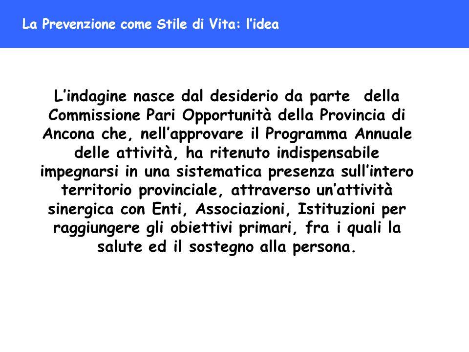La Prevenzione come Stile di Vita: lidea Lindagine nasce dal desiderio da parte della Commissione Pari Opportunità della Provincia di Ancona che, nell
