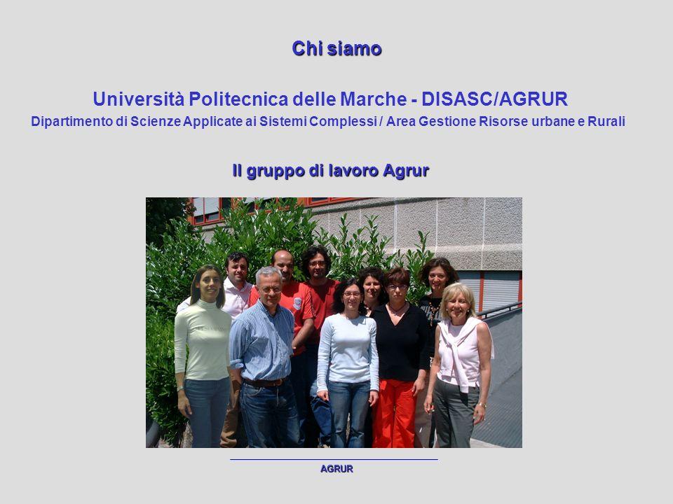 AGRUR Chi siamo Università Politecnica delle Marche - DISASC/AGRUR Dipartimento di Scienze Applicate ai Sistemi Complessi / Area Gestione Risorse urbane e Rurali Il gruppo di lavoro Agrur