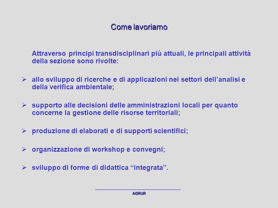 AGRUR Studenti (apprendimento, esemplificazione) Collaboratori (applicazione su temi specifici) Dottorandi (approfondimento, strutturazione e applicazione di tematiche complesse) Corpo docente (principi metodologici condivisi) Schema delle attività