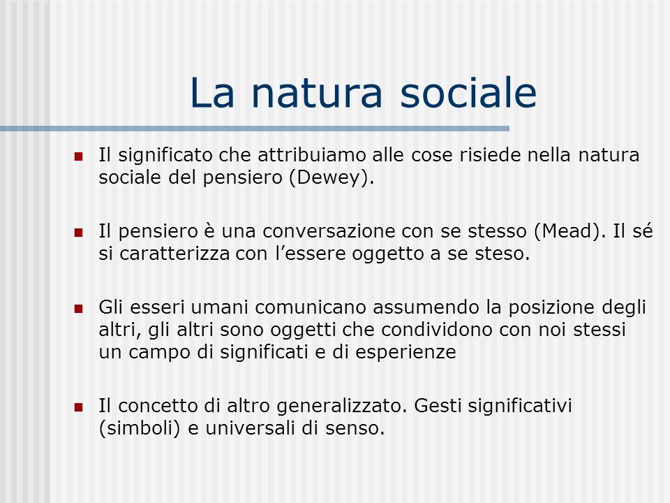 La natura sociale Il significato che attribuiamo alle cose risiede nella natura sociale del pensiero (Dewey). Il pensiero è una conversazione con se s