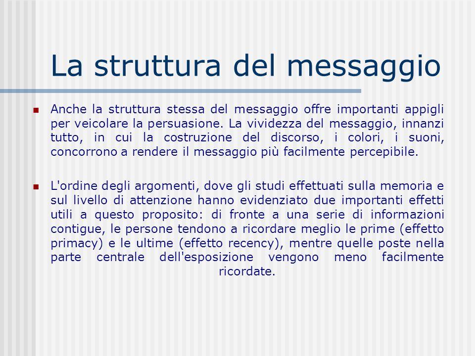 La struttura del messaggio Anche la struttura stessa del messaggio offre importanti appigli per veicolare la persuasione. La vividezza del messaggio,