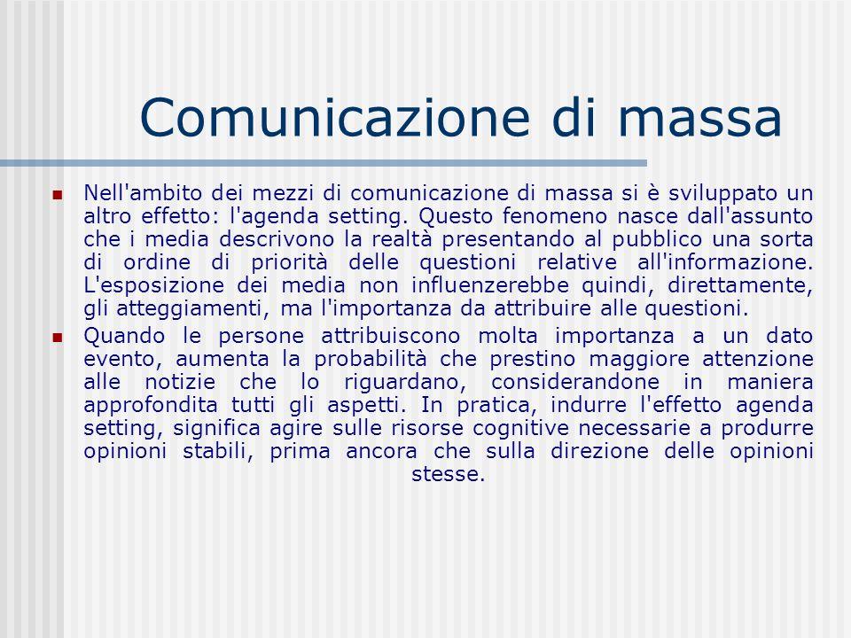 Comunicazione di massa Nell'ambito dei mezzi di comunicazione di massa si è sviluppato un altro effetto: l'agenda setting. Questo fenomeno nasce dall'