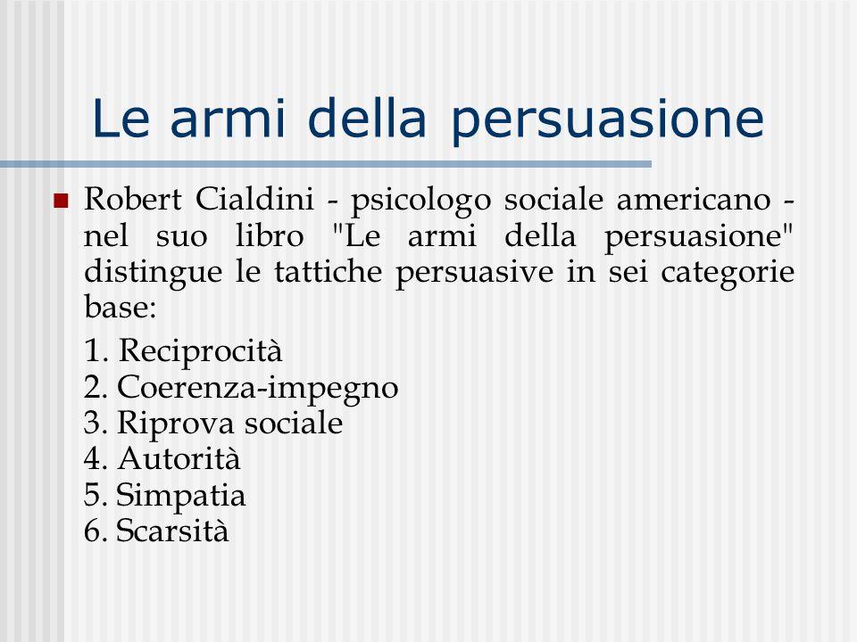 Le armi della persuasione Robert Cialdini - psicologo sociale americano - nel suo libro