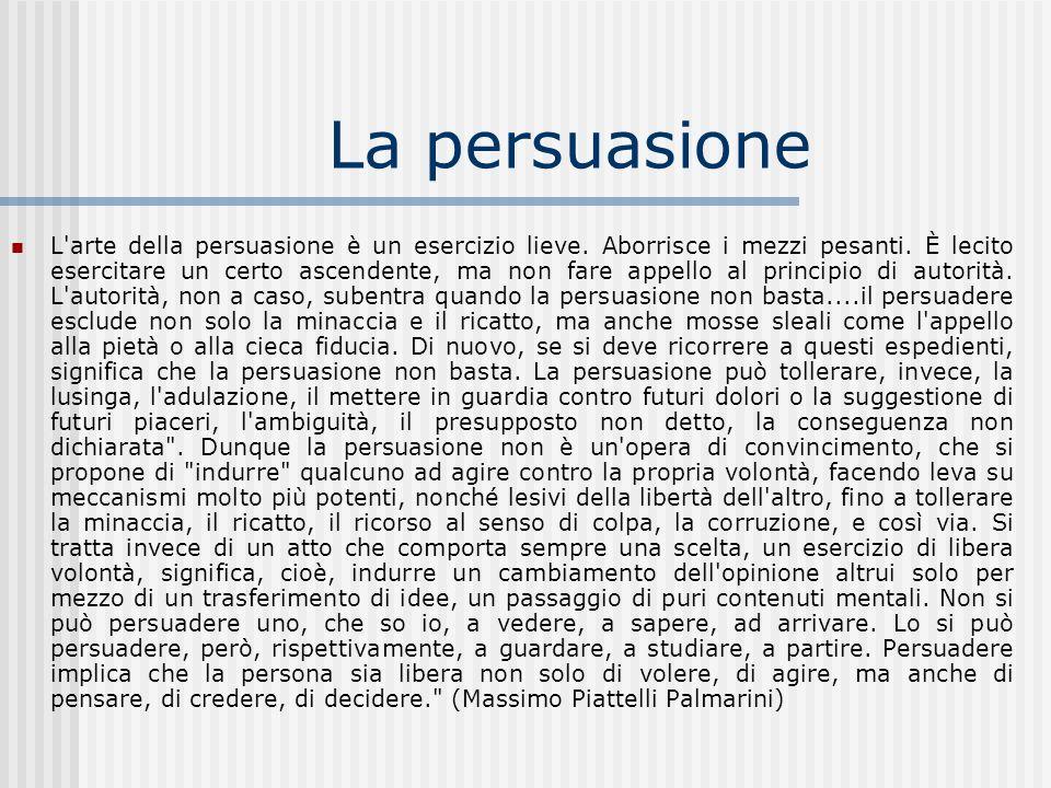 La persuasione L'arte della persuasione è un esercizio lieve. Aborrisce i mezzi pesanti. È lecito esercitare un certo ascendente, ma non fare appello
