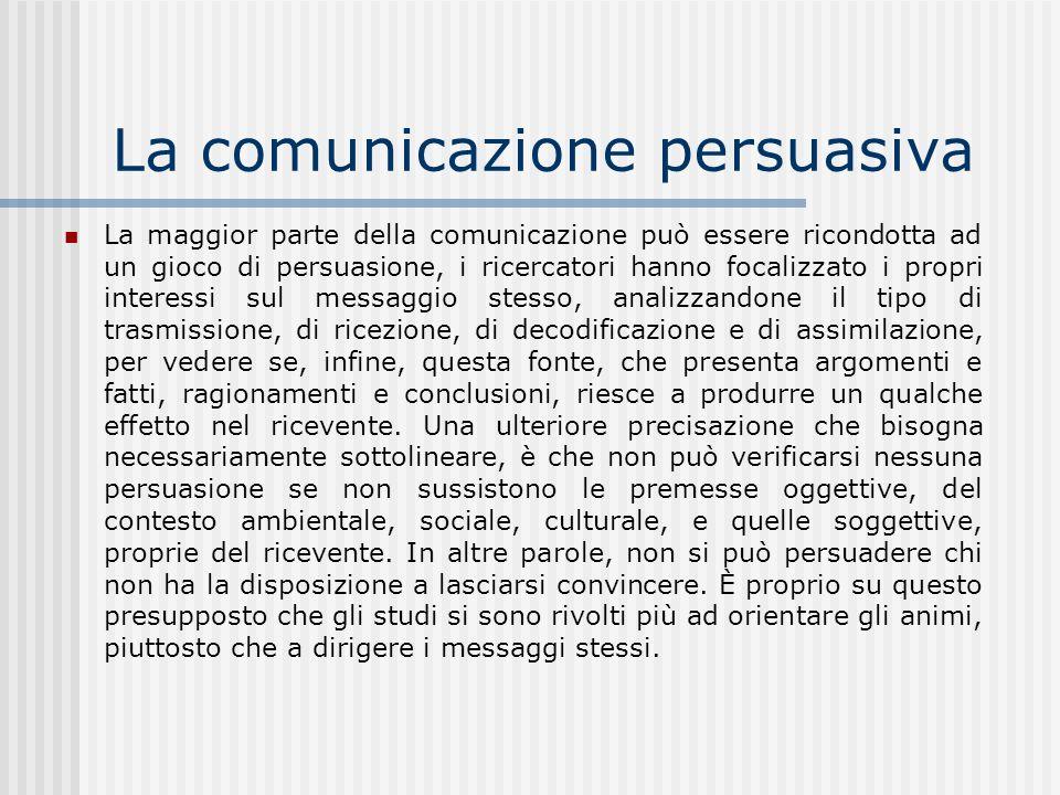 La comunicazione persuasiva La maggior parte della comunicazione può essere ricondotta ad un gioco di persuasione, i ricercatori hanno focalizzato i p