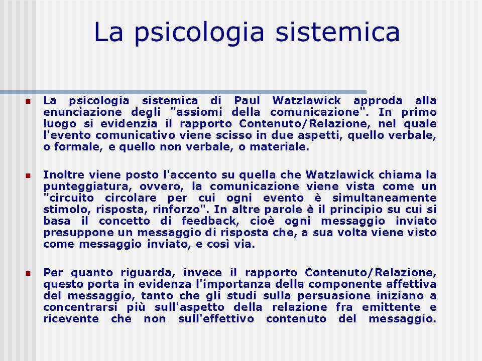 La psicologia sistemica La psicologia sistemica di Paul Watzlawick approda alla enunciazione degli
