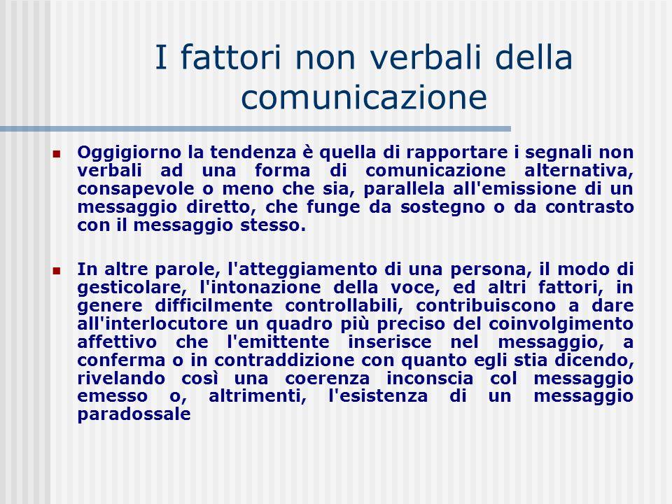 I fattori non verbali della comunicazione Oggigiorno la tendenza è quella di rapportare i segnali non verbali ad una forma di comunicazione alternativ