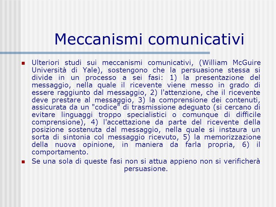 Meccanismi comunicativi Ulteriori studi sui meccanismi comunicativi, (William McGuire Università di Yale), sostengono che la persuasione stessa si div