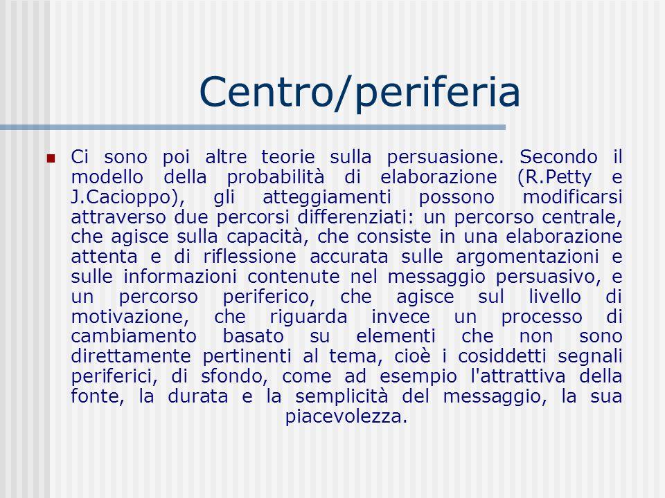 Centro/periferia Ci sono poi altre teorie sulla persuasione. Secondo il modello della probabilità di elaborazione (R.Petty e J.Cacioppo), gli atteggia