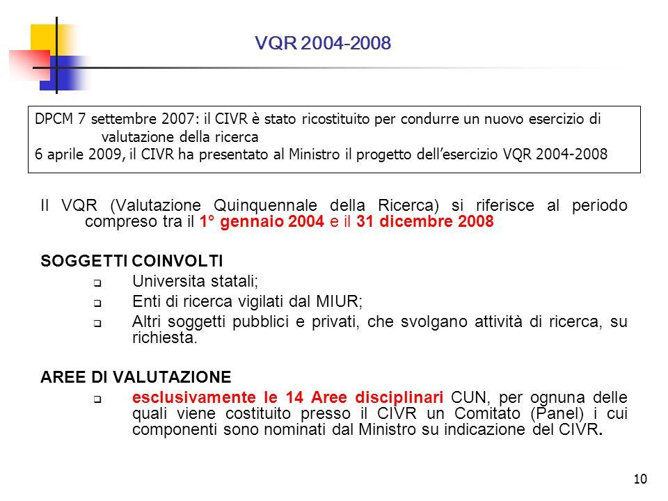 10 Il VQR (Valutazione Quinquennale della Ricerca) si riferisce al periodo compreso tra il 1° gennaio 2004 e il 31 dicembre 2008 SOGGETTI COINVOLTI Universita statali; Enti di ricerca vigilati dal MIUR; Altri soggetti pubblici e privati, che svolgano attività di ricerca, su richiesta.