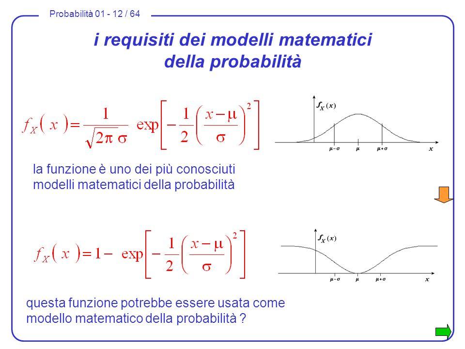 Probabilità 01 - 12 / 64 i requisiti dei modelli matematici della probabilità la funzione è uno dei più conosciuti modelli matematici della probabilit