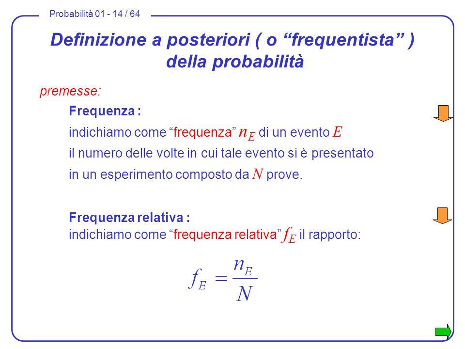 Probabilità 01 - 14 / 64 Definizione a posteriori ( o frequentista ) della probabilità premesse: Frequenza : Frequenza relativa : indichiamo come freq