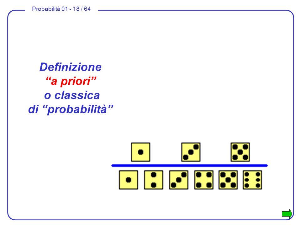 Probabilità 01 - 18 / 64 Definizione a priori o classica di probabilità