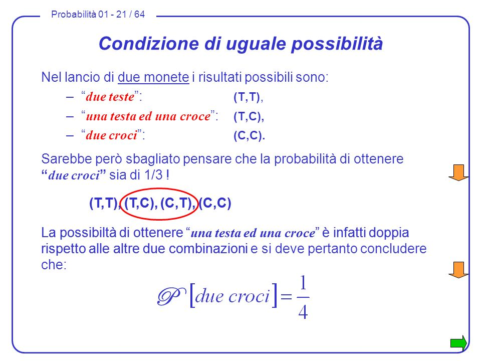 Probabilità 01 - 21 / 64 Condizione di uguale possibilità Nel lancio di due monete i risultati possibili sono: – due teste : (T,T), – una testa ed una