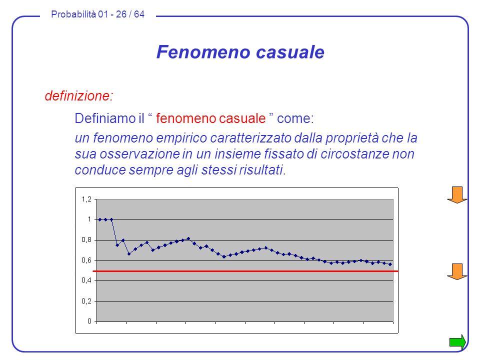 Probabilità 01 - 26 / 64 Fenomeno casuale definizione: Definiamo il fenomeno casuale come: un fenomeno empirico caratterizzato dalla proprietà che la