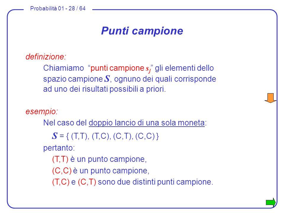 Probabilità 01 - 28 / 64 Punti campione definizione: Chiamiamo punti campione s j gli elementi dello spazio campione S, ognuno dei quali corrisponde a