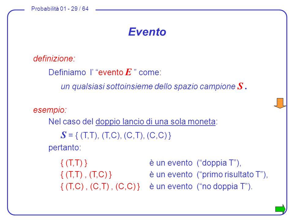 Probabilità 01 - 29 / 64 Evento definizione: Definiamo l evento E come: un qualsiasi sottoinsieme dello spazio campione S. esempio: Nel caso del doppi