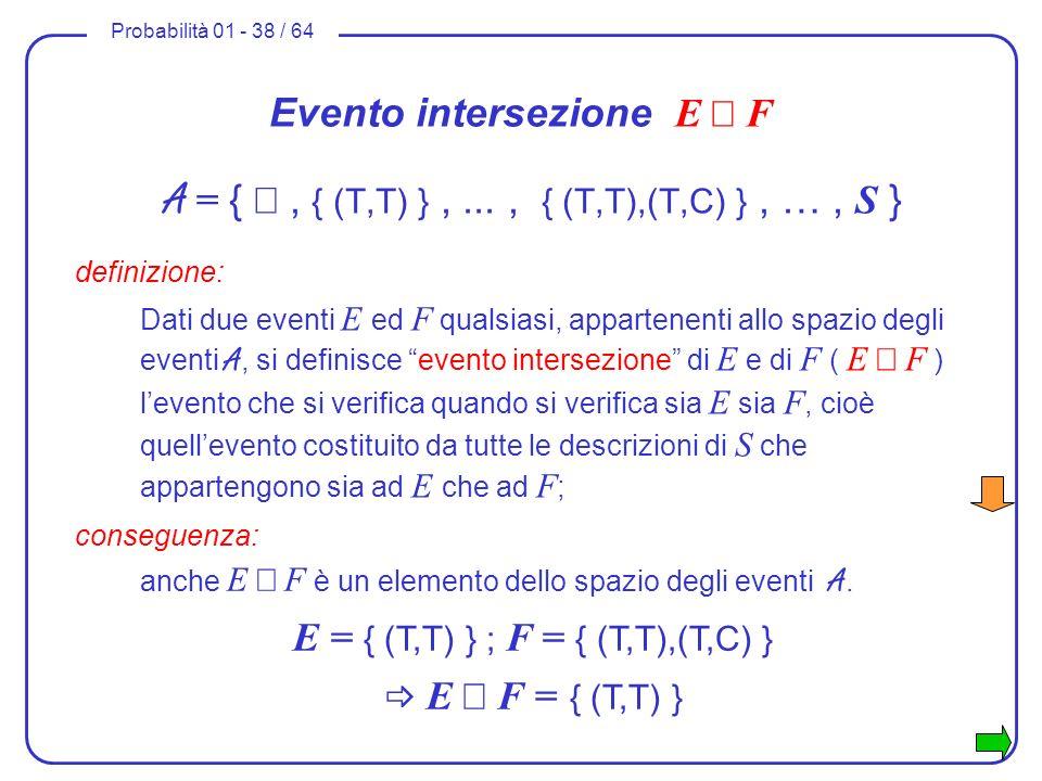 Probabilità 01 - 38 / 64 Evento intersezione E F A = {, { (T,T) },..., { (T,T),(T,C) }, …, S } definizione: Dati due eventi E ed F qualsiasi, apparten